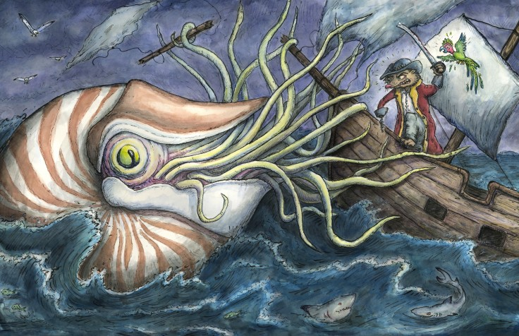 Captain Vole and the Battle of the Nautilus- two page spread for children's book