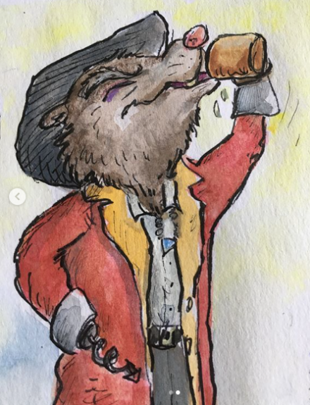 Captain Vole takes a swig 2